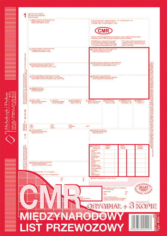 Ak CMR nie numerowana oryginał+3 kopie 800-1