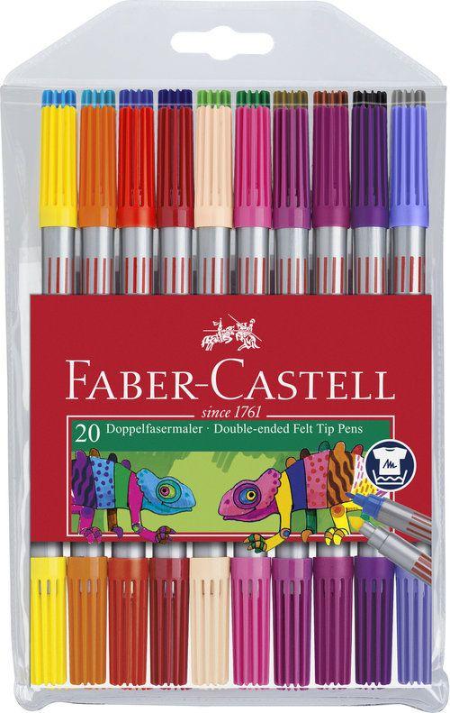 Faber-Castell Flamastry dwustronne 20kol. w etiu